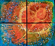 Summer Sky Quartet by Cynthia Miller (Art Glass Wall Sculpture)