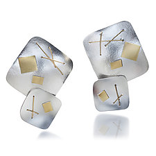Interwoven Two Square Earring by Suzanne Schwartz (Gold & Silver Earrings)