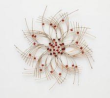 Deep Orange Wall Flower by Charissa Brock (Art Glass & Bamboo Wall Sculpture)