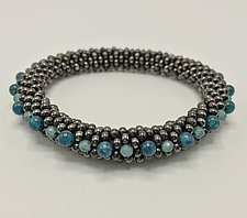 Gunmetal Bead Crochet Bangle by Sher Berman (Beaded Bracelet)