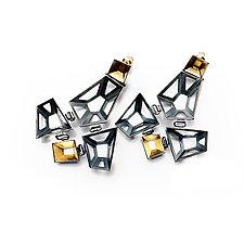Origami Earrings #9 by Sophia Hu (Gold & Silver Earrings)