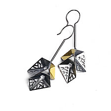 Origami Earrings #8 by Sophia Hu (Gold & Silver Earrings)