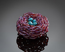 Woven Glass Bird's Nest in Amber Orchid by Demetra Theofanous (Art Glass Sculpture)