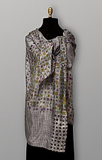 Gray Geometric Silk Scarf by Uosis Juodvalkis  and Jacquie Rice (Silk Scarf)