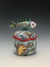Unlikely Friends Fish and Seahorse Vase by Lilia Venier (Ceramic Jar)