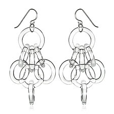 Cluster Chain Earrings by Roxann Slate (Art Glass Earrings)