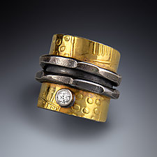 Zen Wrap Ring II by Patricia McCleery (Gold, Silver & Stone Ring)