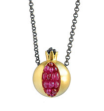 Pomegranate Gold Necklace by Boline Strand (Gold & Stone Necklace)