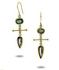 Gray & Green Tourmaline Bar Earrings by Lori Kaplan (Gold & Stone Earrings)