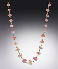 Pink Tourmaline Faceted Necklace by Lori Kaplan (Gold & Stone Necklace)