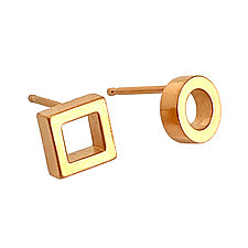 Tiny Asymmetrical Stud Earrings by Nina Scala (Gold & Silver Earrings)