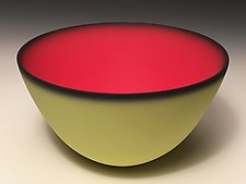 Smooth Bowl with Lime Exterior by Thomas Marrinson (Ceramic Bowl)