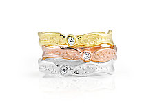 Meteor Shower Diamond Band Stack by Kristen Baird (Gold, Platinum & Stone Rings)