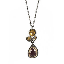 Acacia Cluster Pendant with Sapphire by Emily  Hunziker Phillips (Gold, Silver & Stone Necklace)