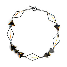 Reveal Statement Necklace by Hsiang-Ting  Yen (Gold, Silver & Enamel Necklace)