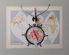 Map Insect by Kiffi Diamond (Mixed-Media Wall Hanging)