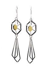 H|G Radiant Hex Drop Earrings by Jera Lodge (Gold, Silver & Steel Earrings)