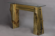 Divide Glass Top Console Table by Craig Demmon (Wood Console Table)