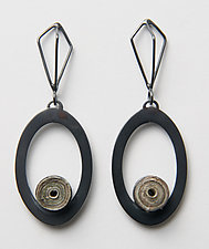Echo Open Oval Earrings by Eliana Arenas (Mixed-Media Earrings)