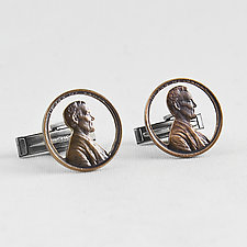 Abe Circled Cuff Links by Stacey Lee  Webber (Silver Cuff Links)