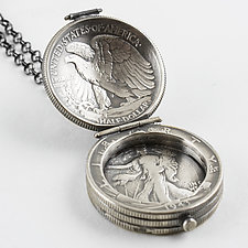 Walking Liberty Half Dollar Locket by Stacey Lee  Webber (Silver Necklace)