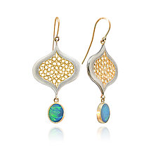 Irregular Drop Opal Earrings by Radi Brothers Jewelry (Gold & Stone Earrings)