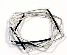 B&W Square Bangles by Laura Hutchcroft (Silver Bracelet)
