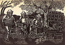 The Beekeepers by Andrea  Pro (Woodcut Print)