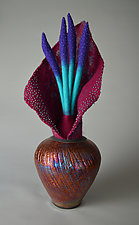 Midnight Bloom by Ellen Silberlicht (Ceramic and Fiber Sculpture)