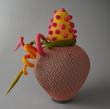 Joy-Filled Day by Ellen Silberlicht (Ceramic and Fiber Sculpture)