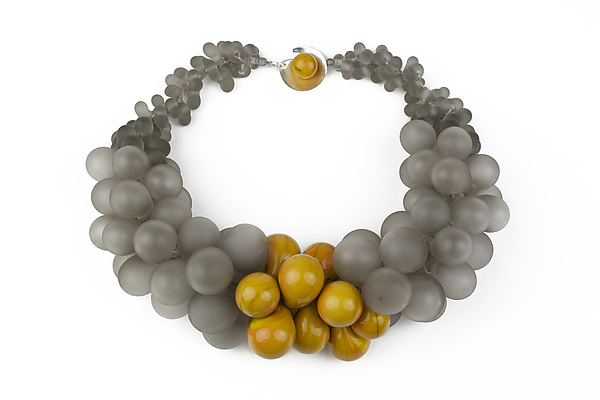 OvO Cluster Necklace in Gray and Ochre