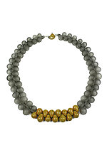 OvO Long Necklace in Gray and Ochre by Alicia Niles (Glass Bead Necklace)