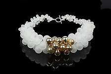 OvO Cluster Necklace in White and Gold by Alicia Niles (Glass Bead Necklace)