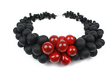 OvO Cluster Necklace in Black and Red by Alicia Niles (Glass Bead Necklace)
