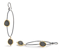 Two-Slate Dangle Hoop by Jessica Weiss (Gold, Silver & Stone Earrings)
