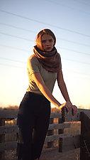 Shibori Wool Infinity Scarf by Rachael Levine (Wool Scarf)