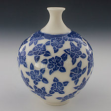 Dancing Blue Flower Vase by Peri Enkin (Ceramic Vase)
