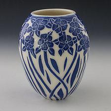 Dancing Blue Flower Vase by Peri Enkin (Ceramic Vase)