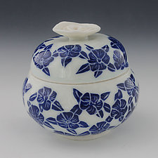 Dancing Blue Flower Covered Jar by Peri Enkin (Ceramic Jar)