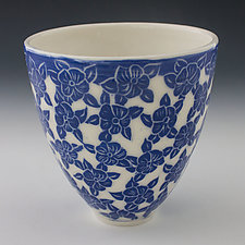 Dancing Blue Flower Bowl by Peri Enkin (Ceramic Bowl)