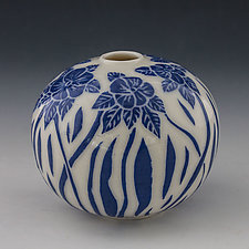 Dancing Blue Flower Bud Vase by Peri Enkin (Ceramic Vase)