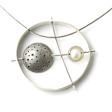 Perforated Moon with Pearl Necklace by Jackie Jordan (Silver & Pearl Necklace)