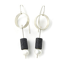 Circle Earrings with Lava and Pearls by Jackie Jordan (Silver & Pearls Earrings)