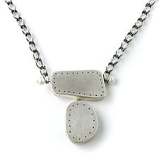 Rectangle and Oval Necklace with Pearls by Jackie Jordan (Silver & Pearl Necklace)