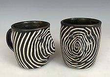 Spiral Face Mug by Larry Halvorsen (Ceramic Mug)
