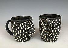 Dotted Face Mug by Larry Halvorsen (Ceramic Mug)