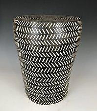 Herringbone Barrel Table by Larry Halvorsen (Ceramic Side Table)