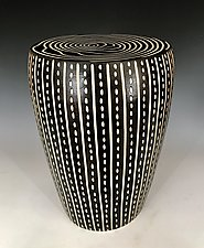 Lines and Dots Table by Larry Halvorsen (Ceramic Side Table)