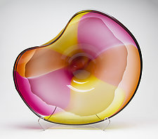 Sunrise Wave Bowl by Janet Nicholson and Rick Nicholson (Art Glass Sculpture)
