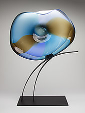 Blue Flight Volo by Janet Nicholson and Rick Nicholson (Art Glass Sculpture)